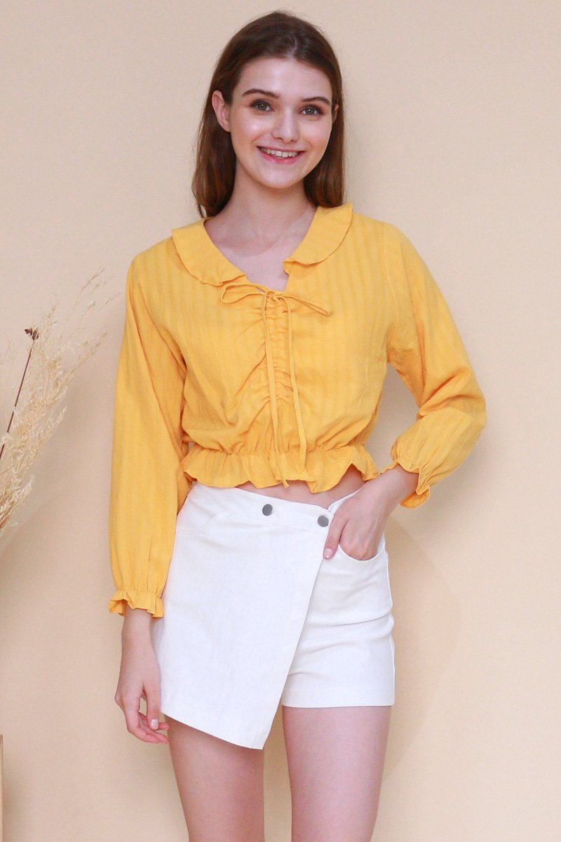 Portia Gathered Front Top Mustard