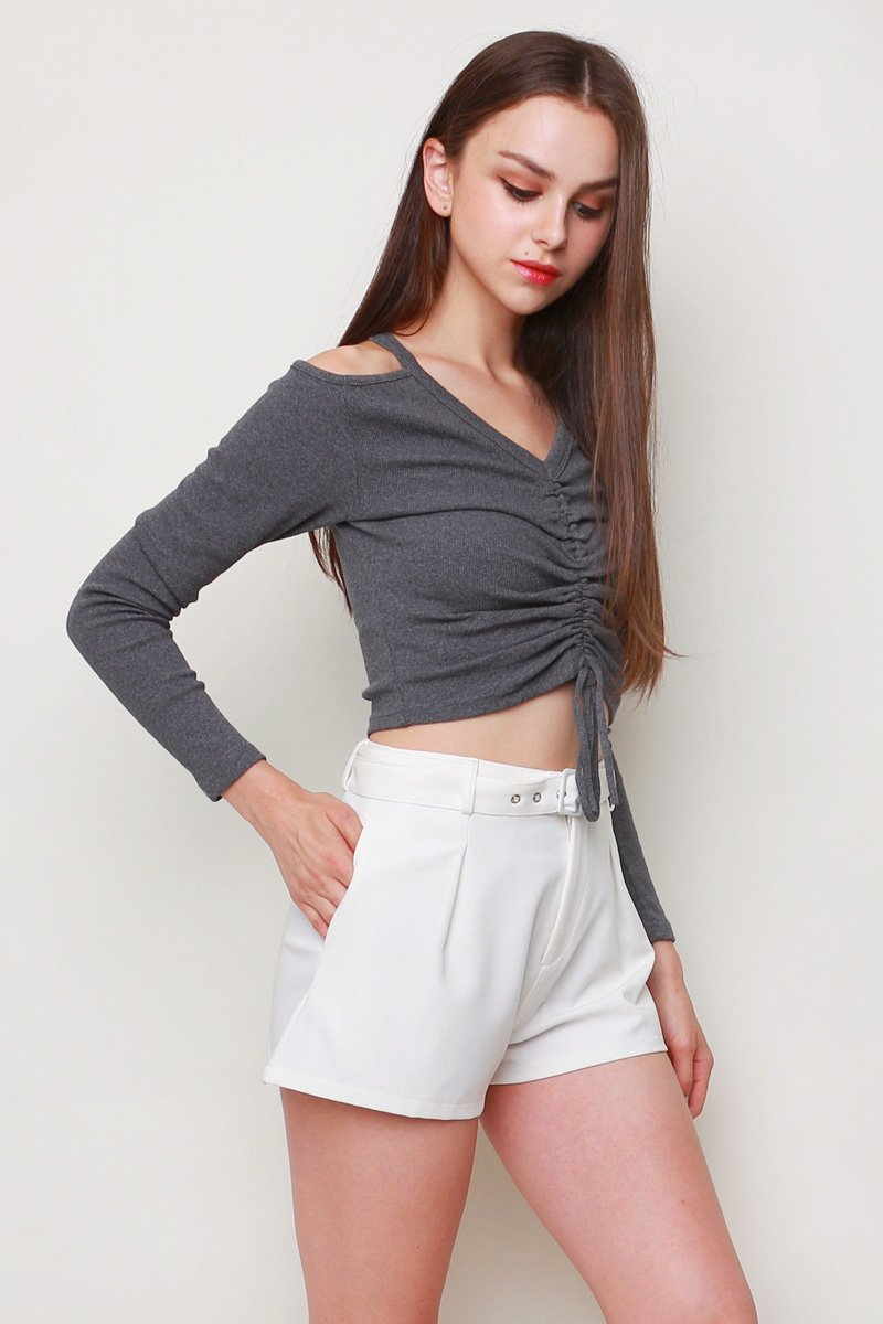 Kerry Front Ruched Knit Top Shadow