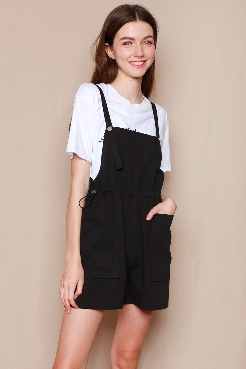Verena Gathered Waist Dungaree Black