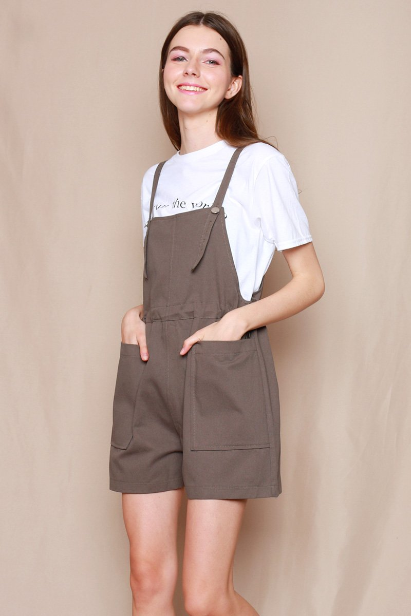 Verena Gathered Waist Dungaree Moss