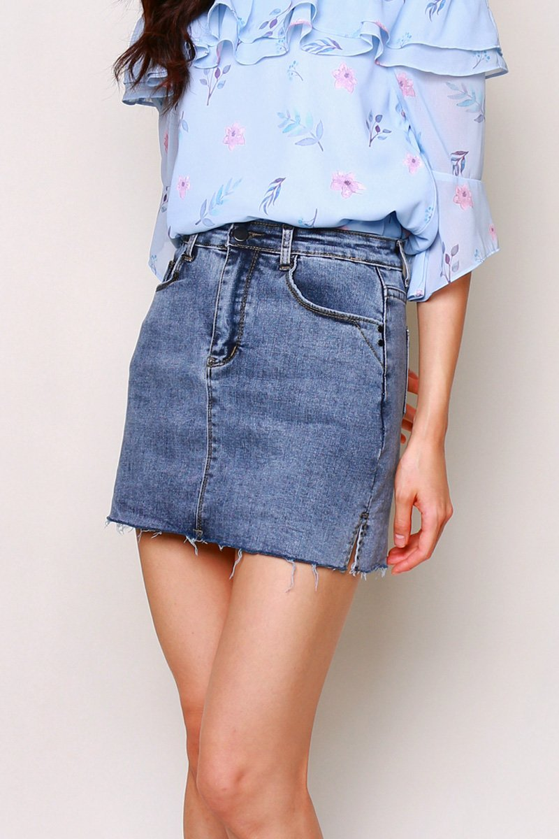 Tulsa Side Slit Denim Skirt Darkwashed