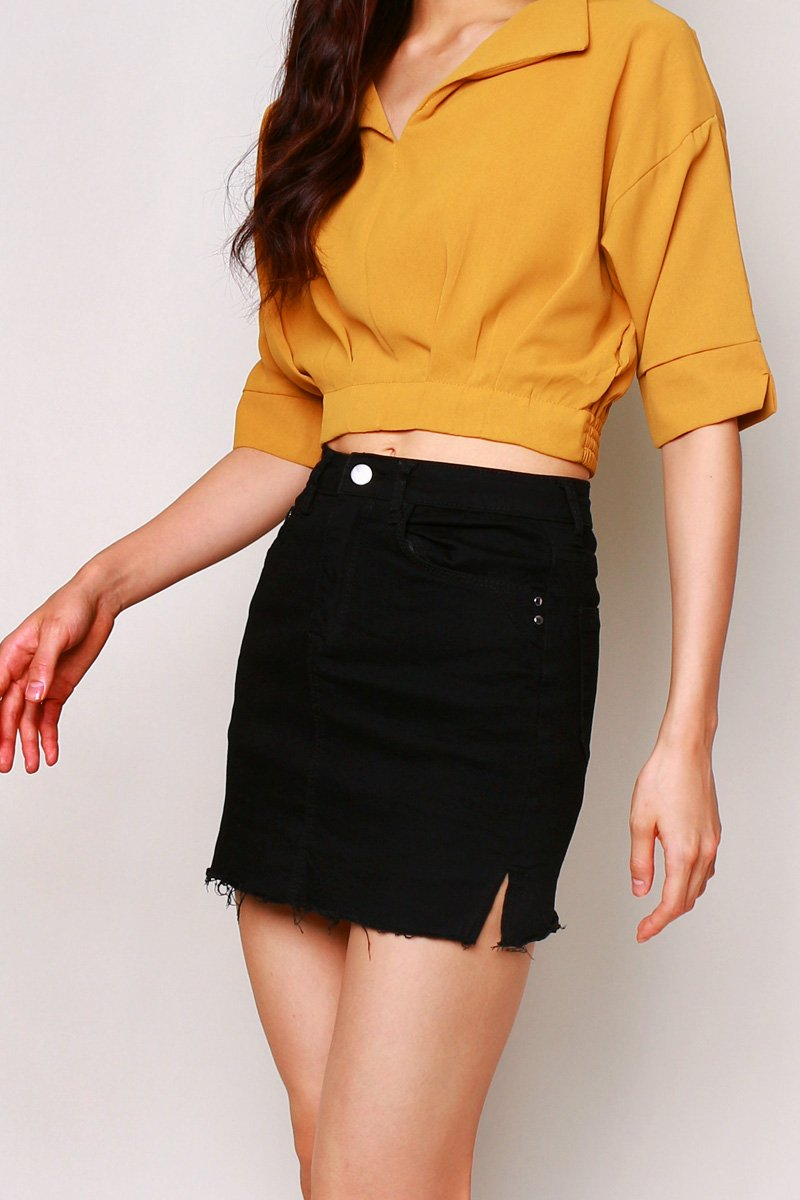 Tulsa Side Slit Denim Skirt Black