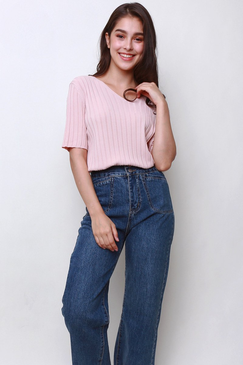Cherie V-Neck Knit Top Blush