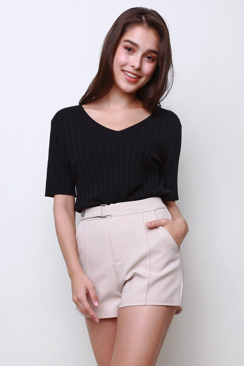 Cherie V-Neck Knit Top Black