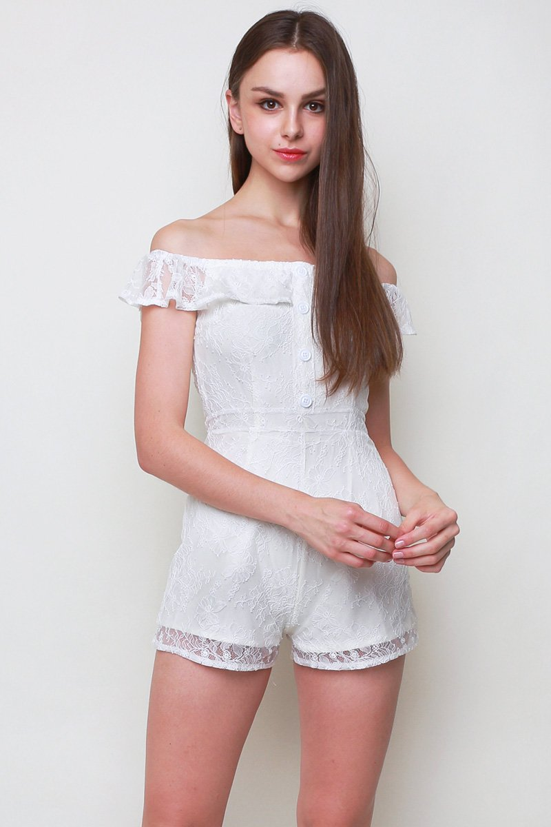 Meriel Lace Overlay Romper Ivory