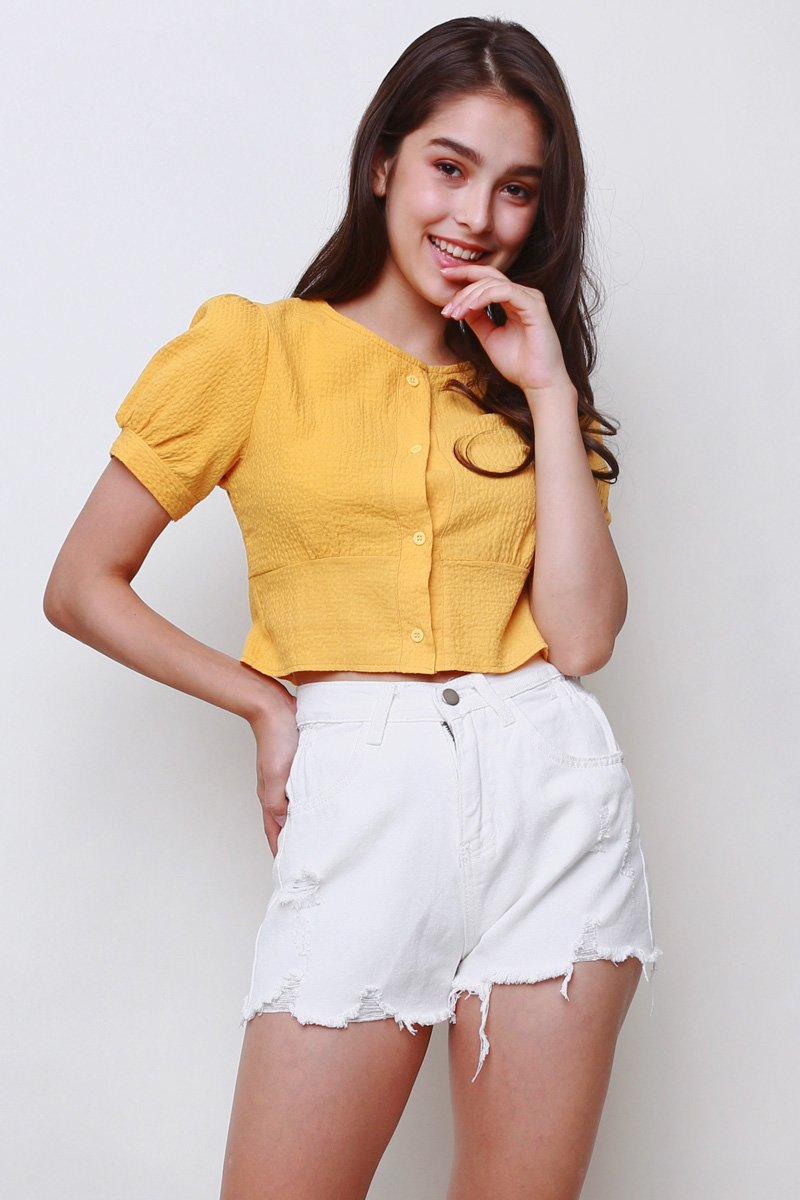 Galen Textured Smocked Back Top Mustard