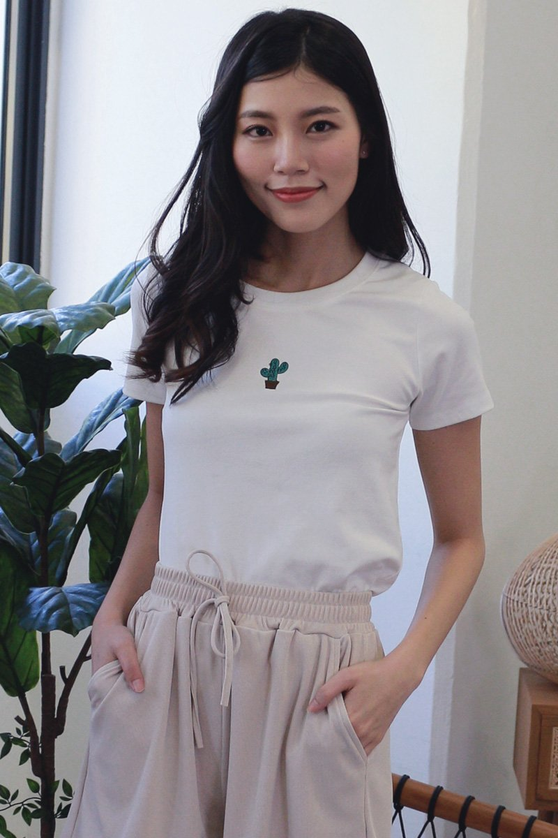 Embroidered Basic Tee Ivory (Cactus)