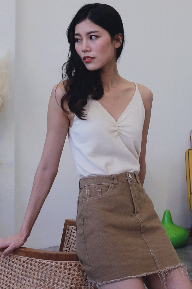 Baylor Front Ruched Knit Top Cream