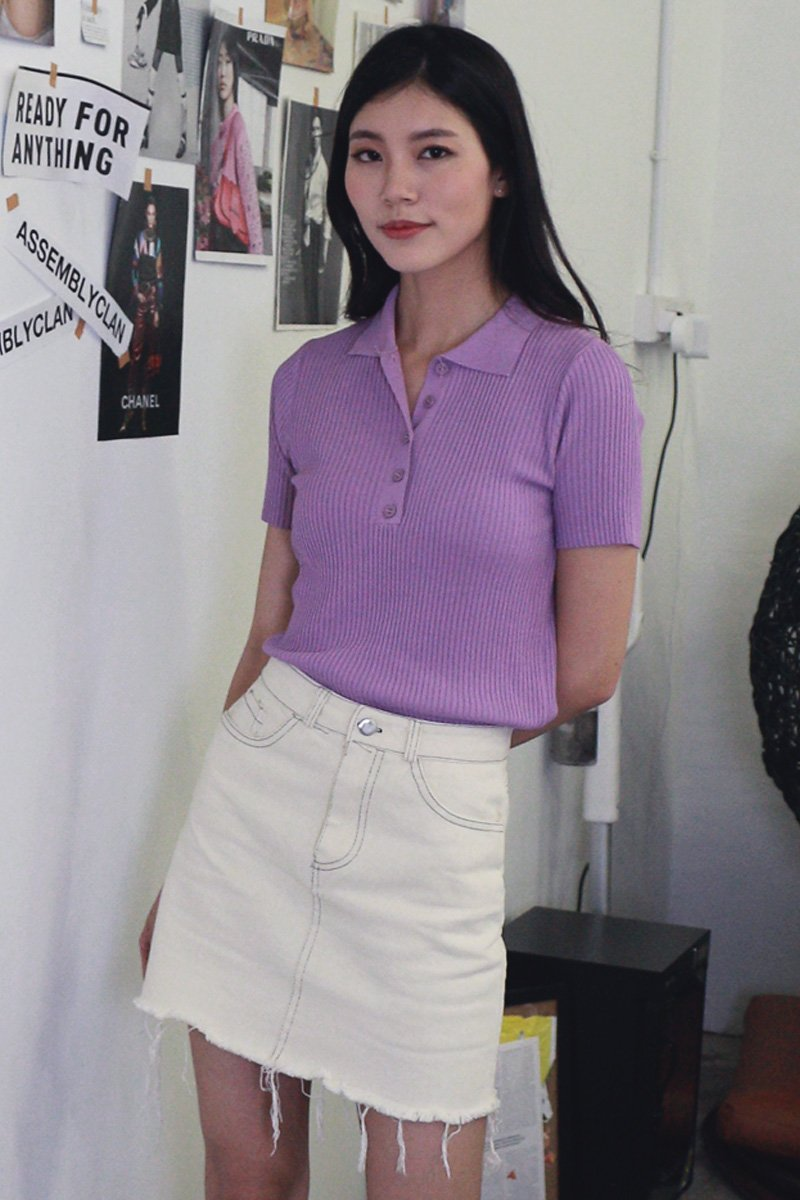 Colby Collared Knit Top Lilac