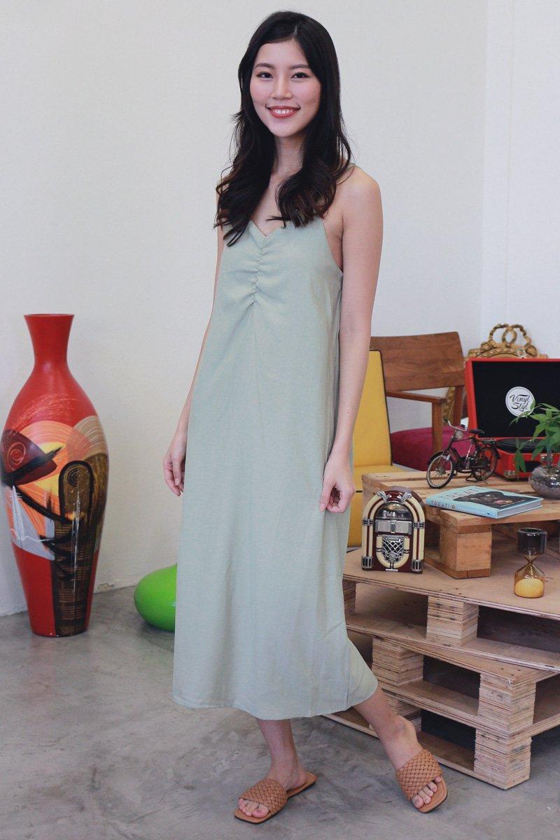 Idina Duo-Strap Midi Dress Sage