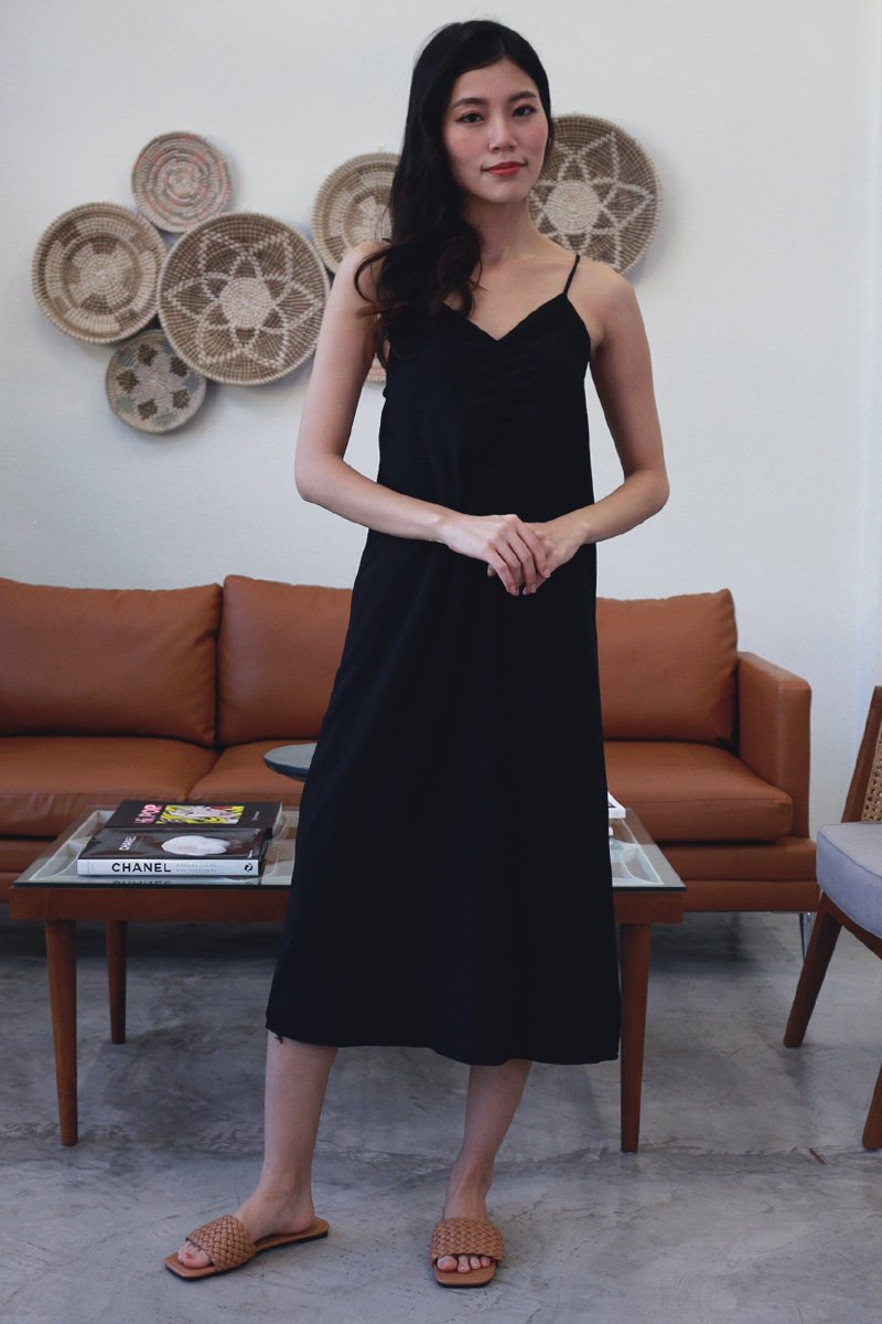 Idina Duo-Strap Midi Dress Black
