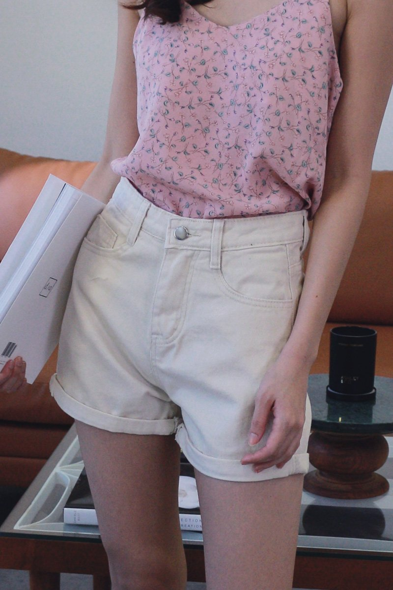 Randa Cuffed Denim Shorts Cream