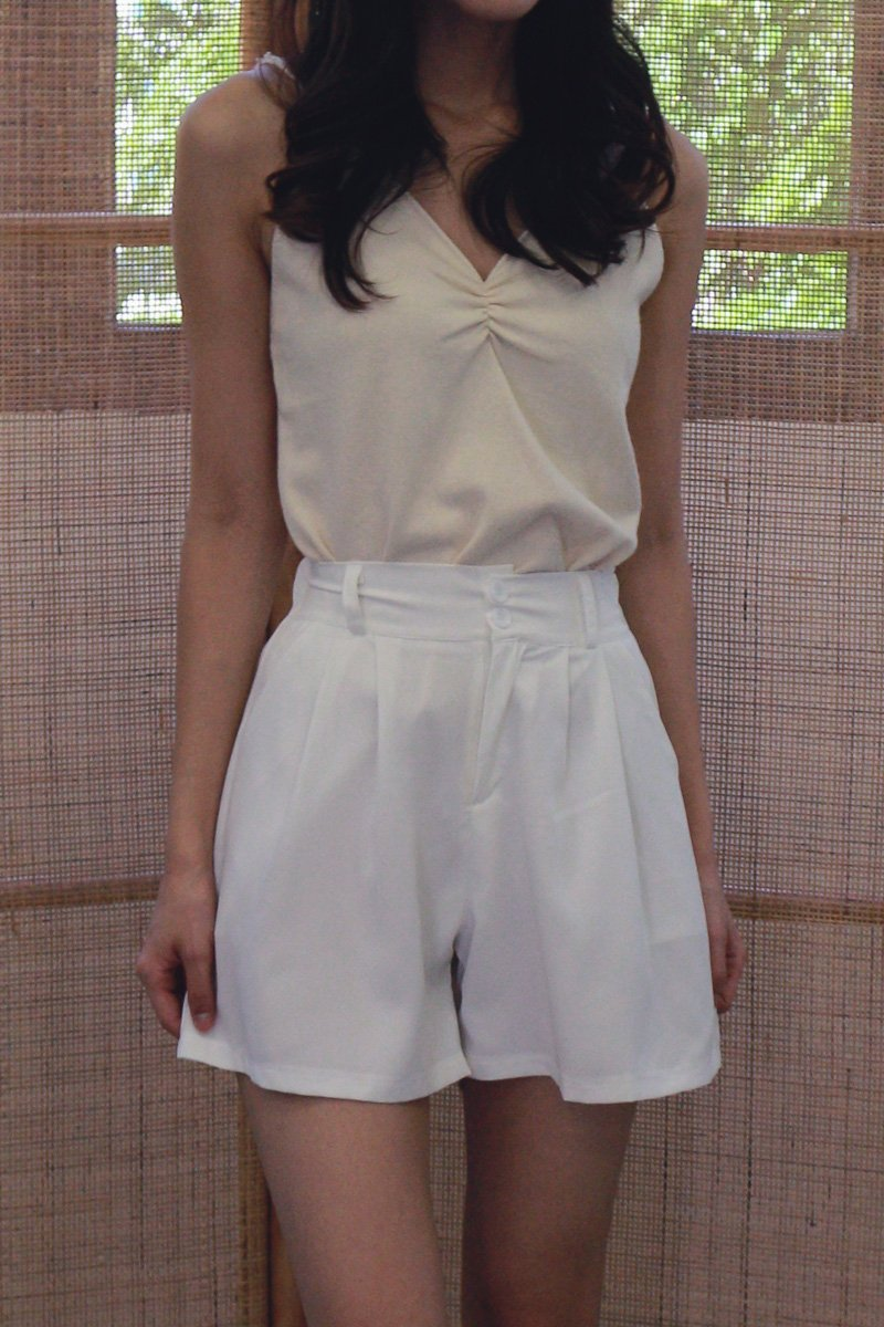 Tory Duo-Button Pleated Shorts Ivory