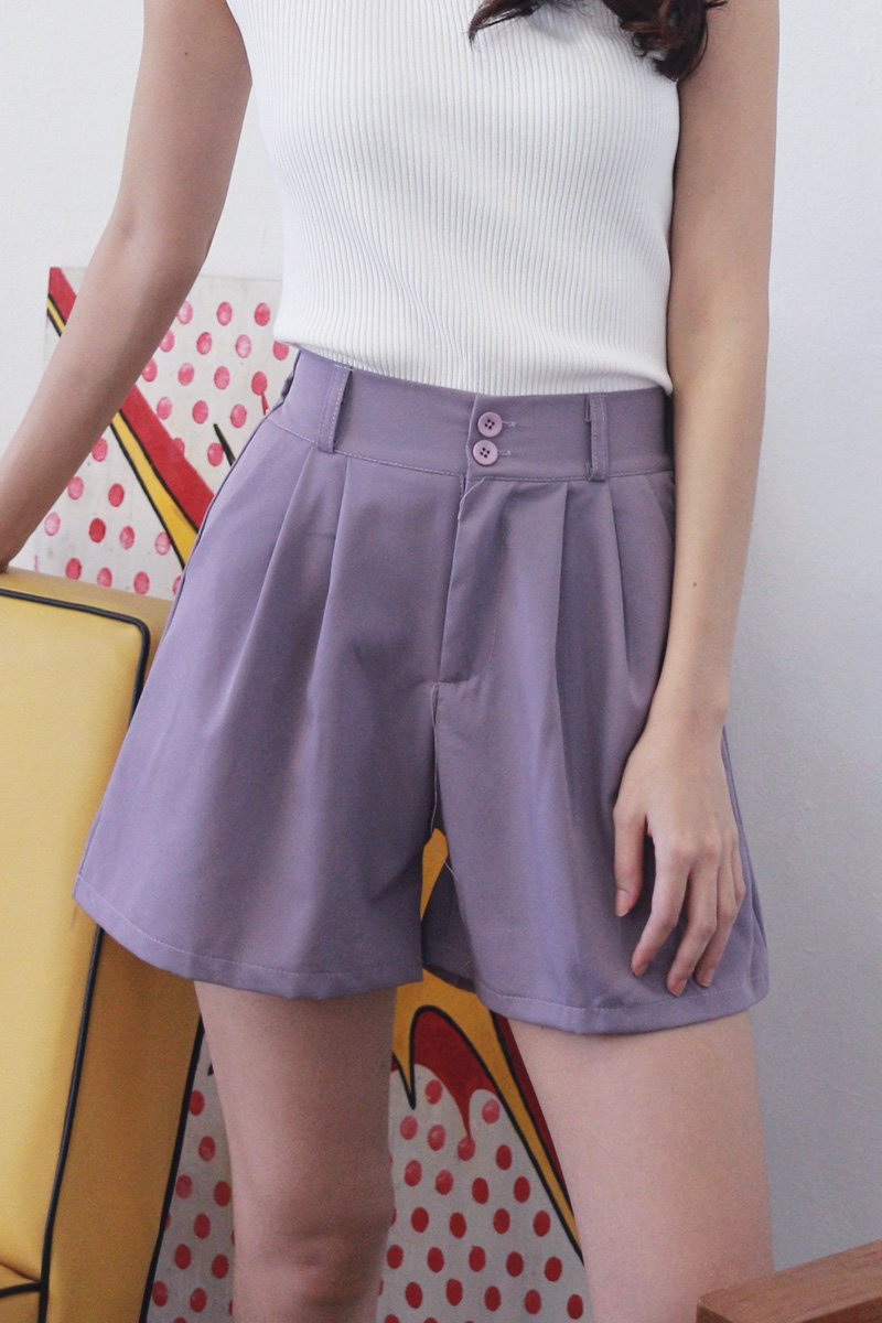 Tory Duo-Button Pleated Shorts Iris