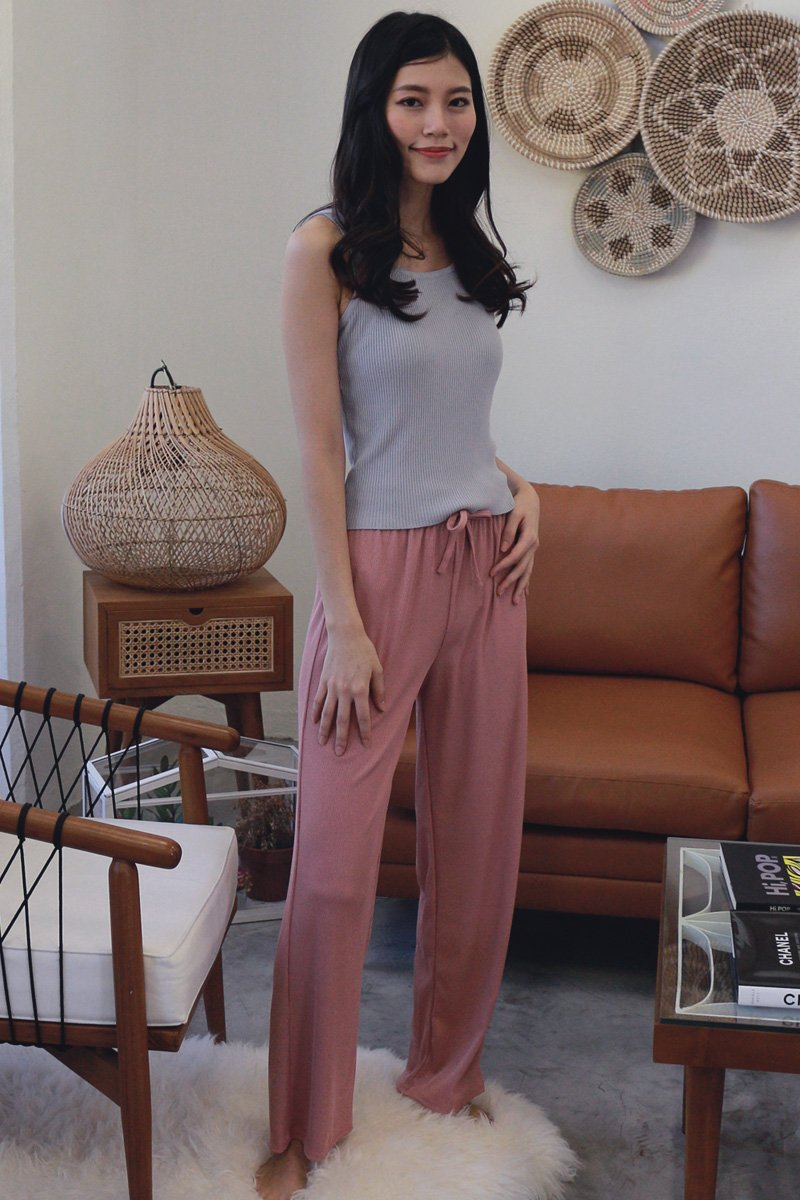 Nelia Wide Leg Lounge Pants Blush