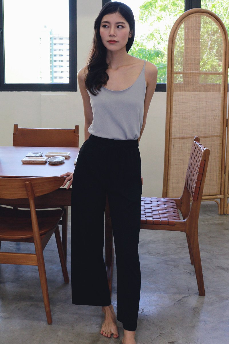 Nelia Wide Leg Lounge Pants Black