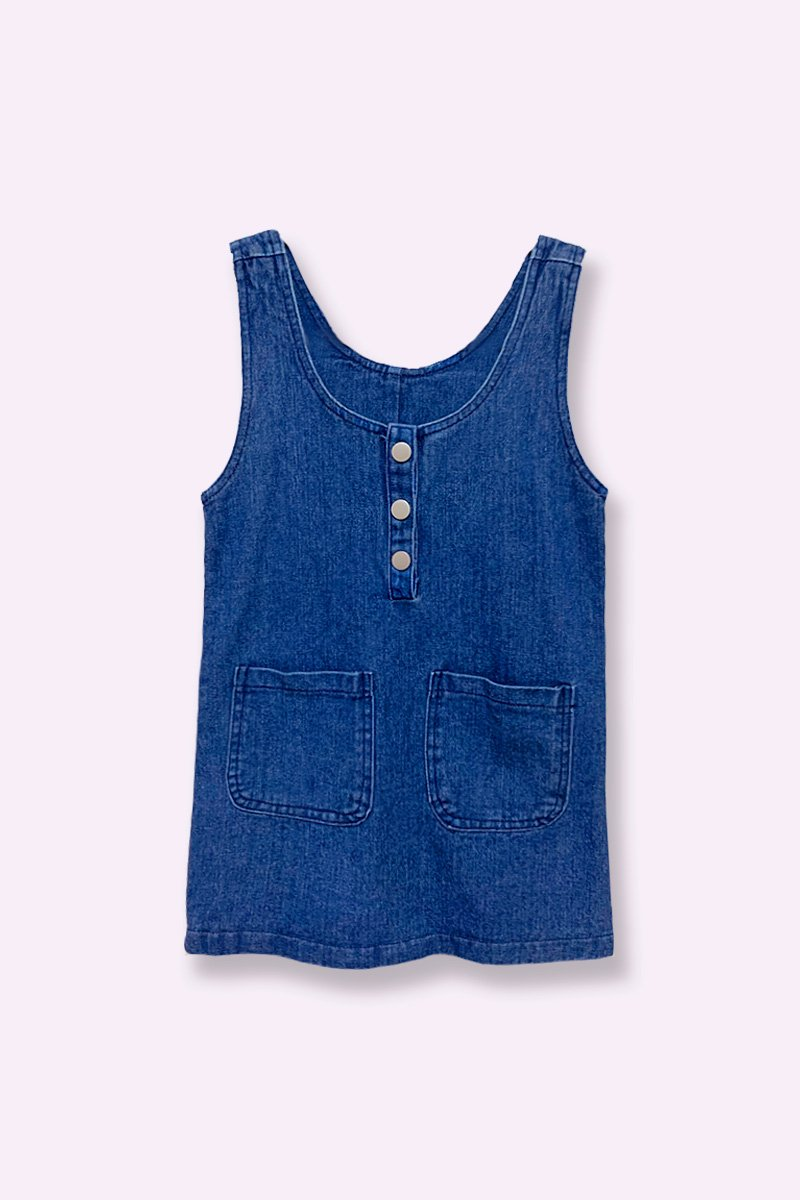 KIDS CLIONA DENIM PINAFORE DARK DENIM