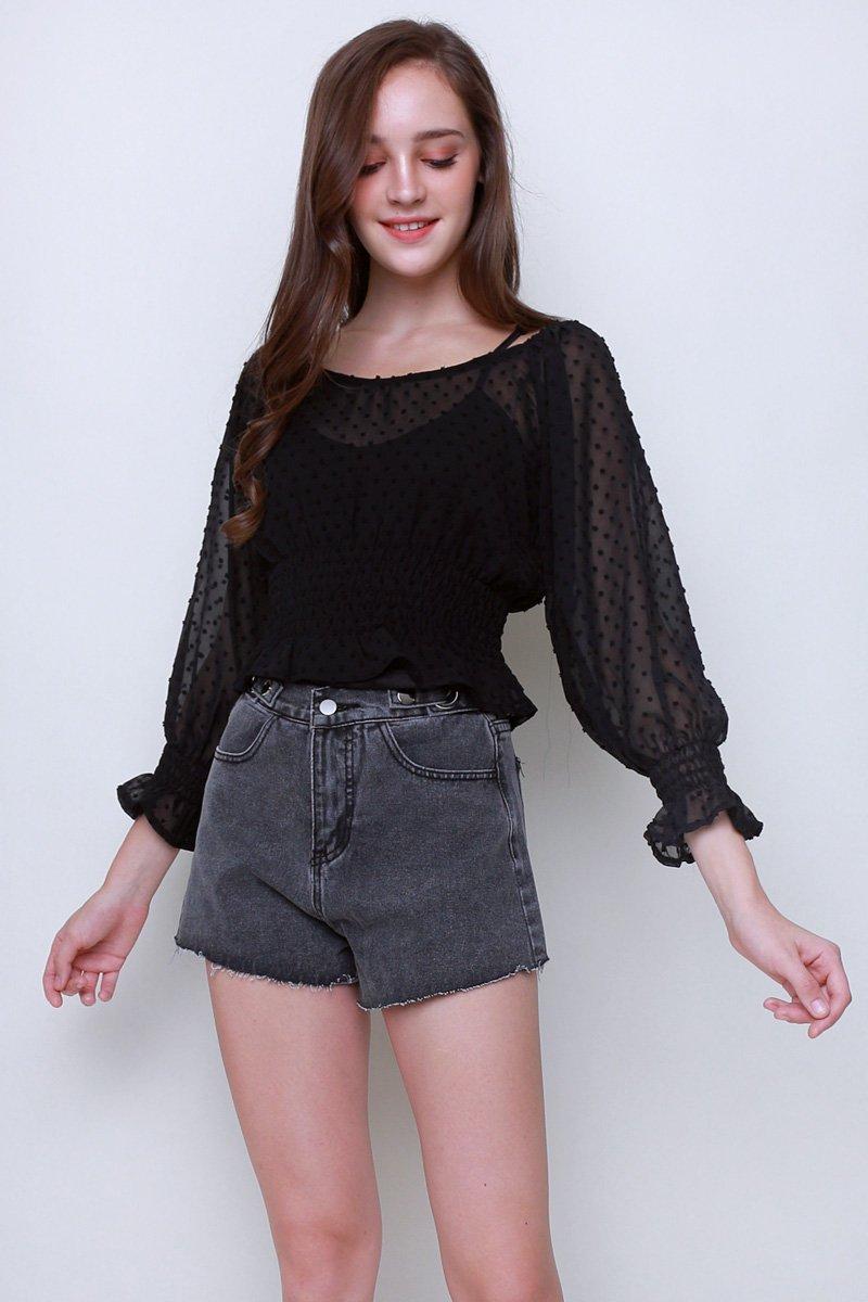 Mae Textured Dot Smocked Top Black