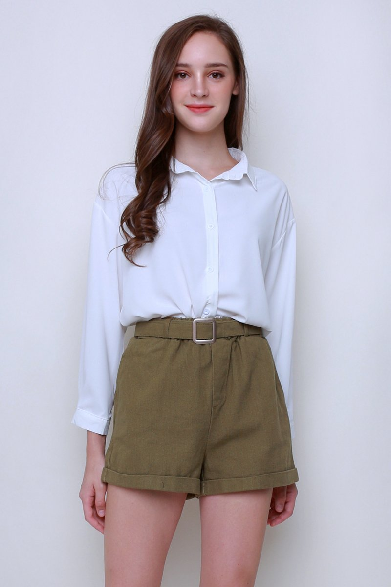Annys Overlap Button Shirt Ivory