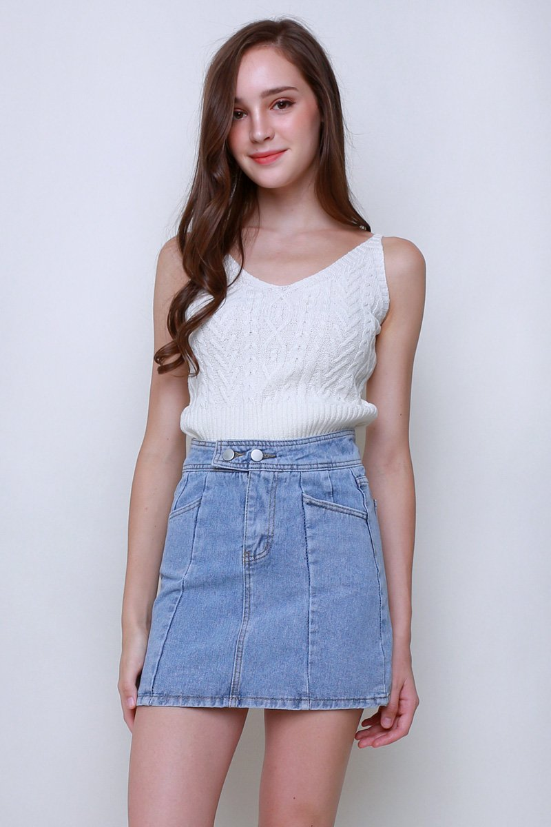 Ebba Cable Knit Cami Top Ivory