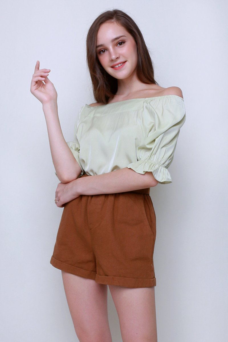 Helia Puff Sleeve Blouse Mint