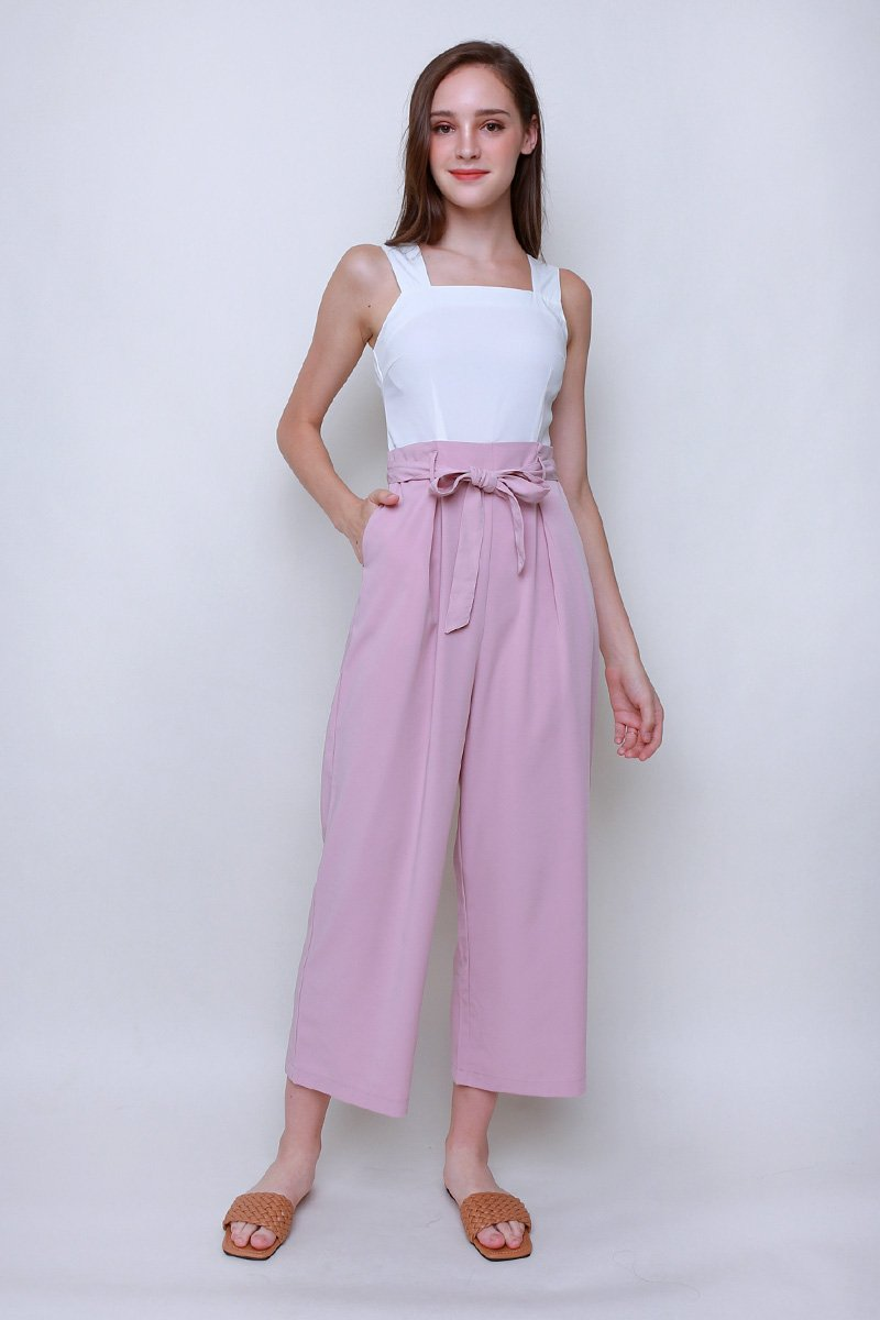 Kara Colourblock Pleated Jumpsuit Blush