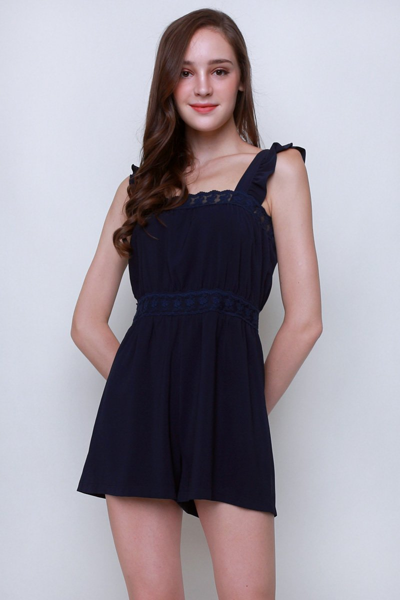 Tana Lace Trim Ruffle Romper Midnight
