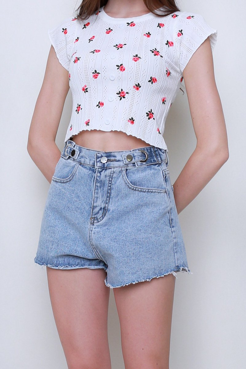[BACKORDER] Minka Ring Buckle Denim Shorts Lightwashed