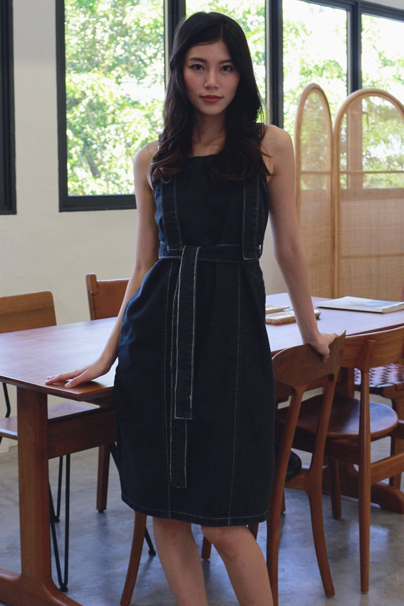 Charisse Denim Midi Dress Black