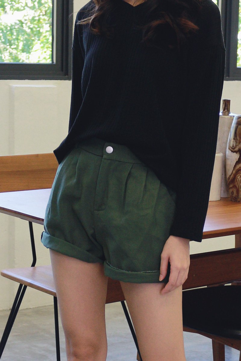 Poe Pleated Denim Shorts Forest