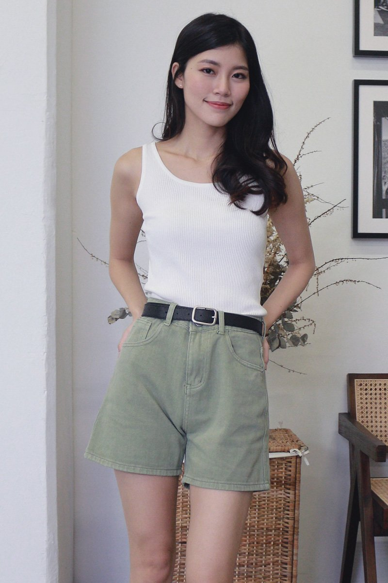 Anthea Denim Shorts with Belt Moss