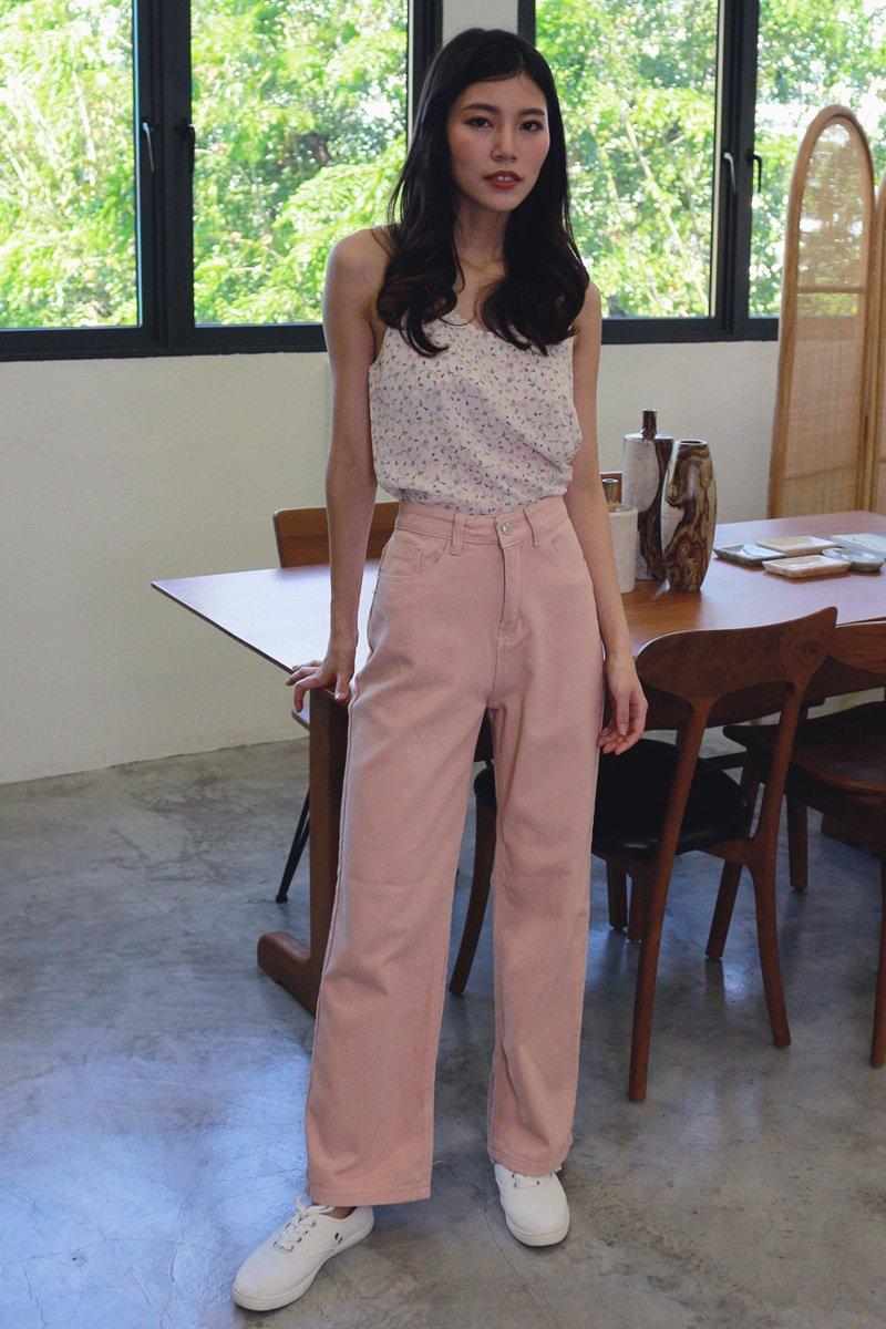 Keiko Wide Leg Denim Jeans Blush