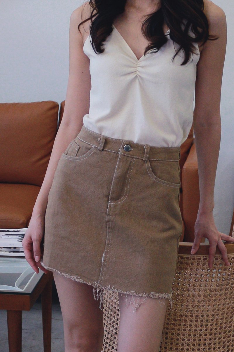 Lenore Distressed Denim Skirt Caramel