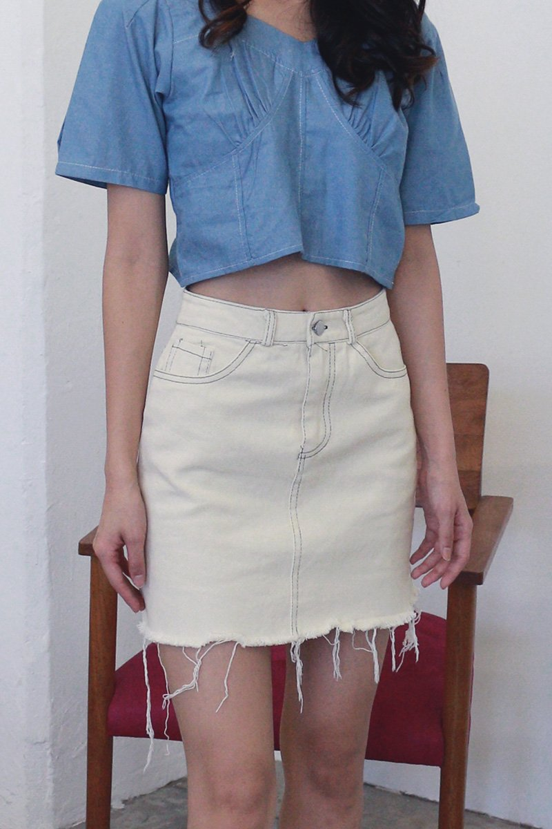 Lenore Distressed Denim Skirt Cream