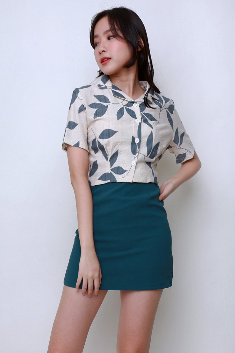 Kade Printed Button Crop Shirt Moss