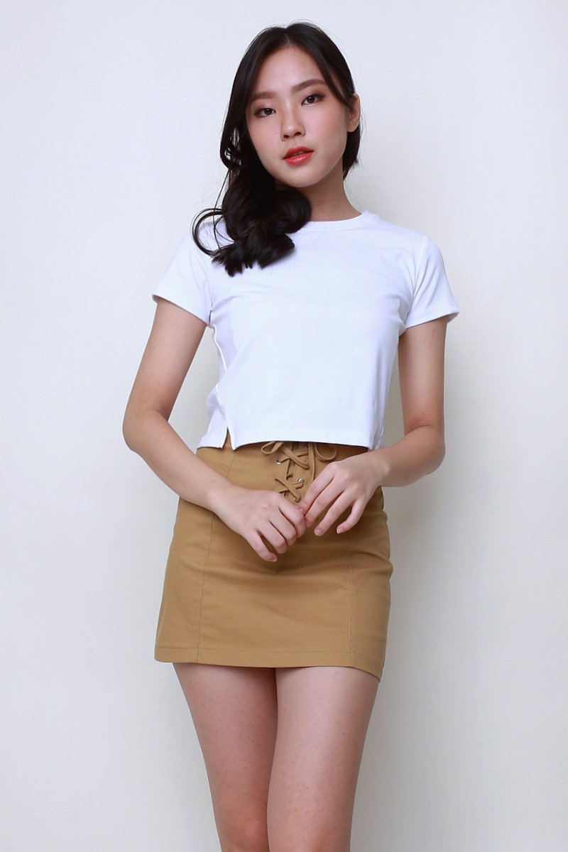 Lisza Cut Out Crop Top Ivory