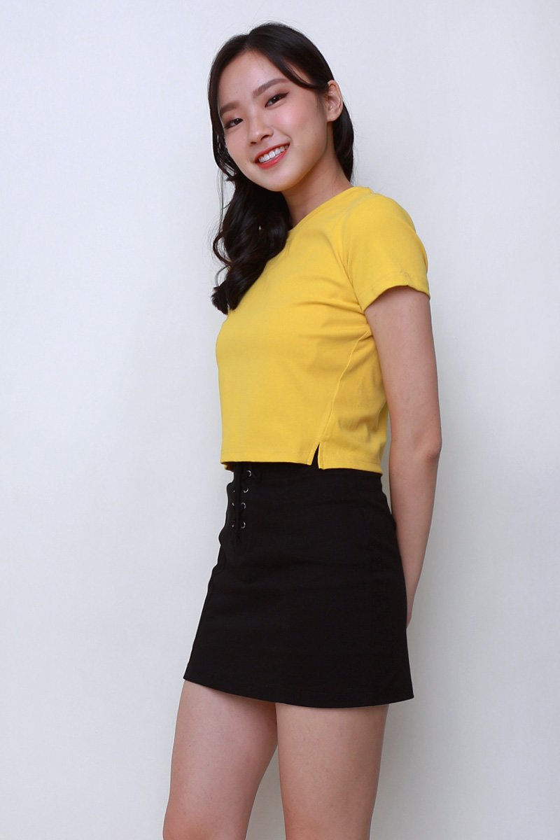Lisza Cut Out Crop Top Mustard