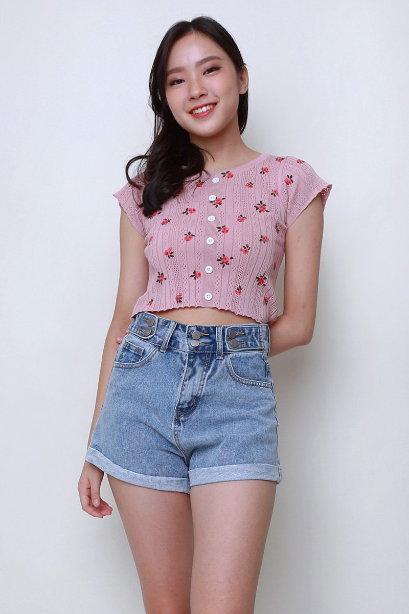 Mellie Floral Knit Crop Top Blush