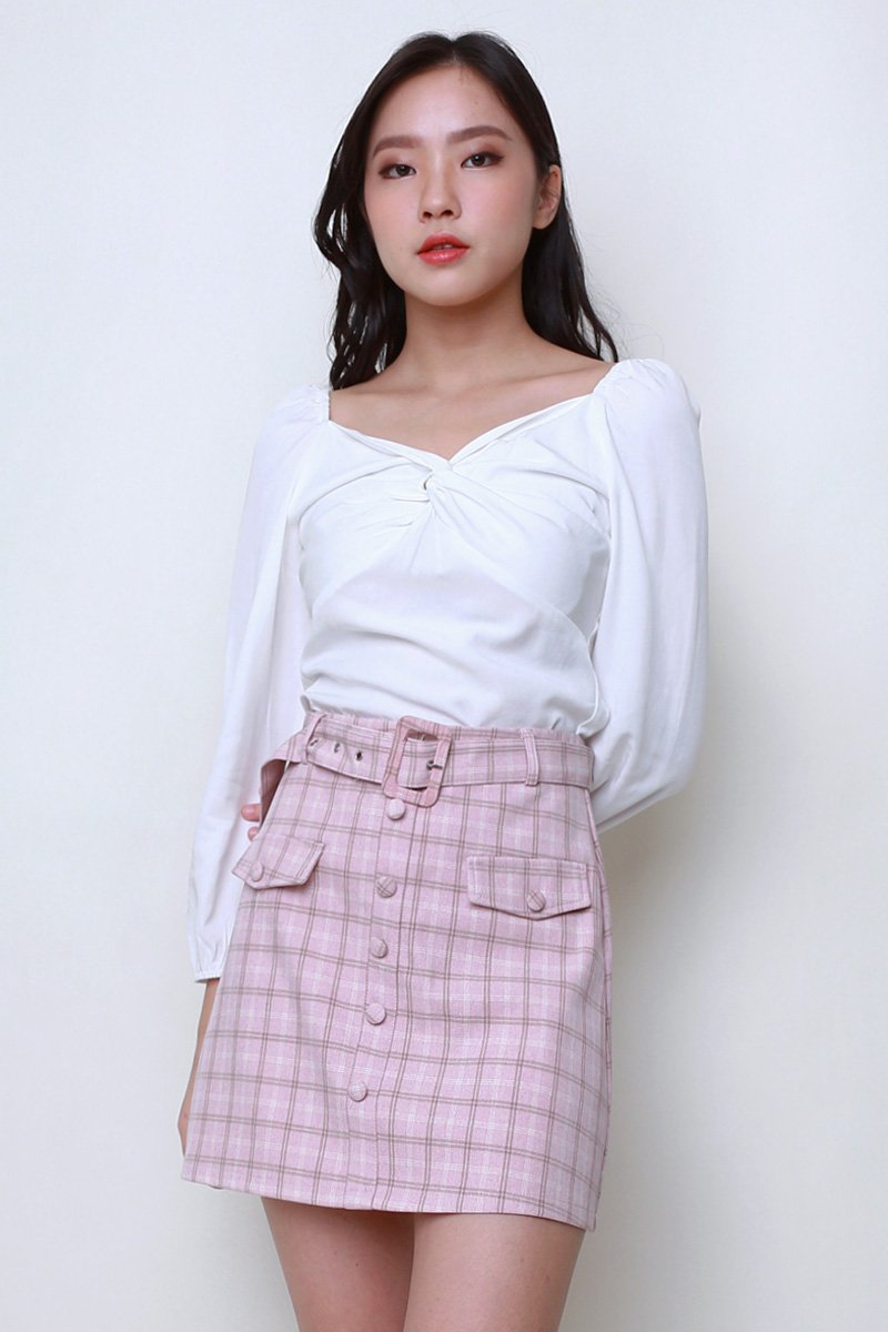 [BACKORDER] Sher Twist Front Puff Sleeve Top Ivory