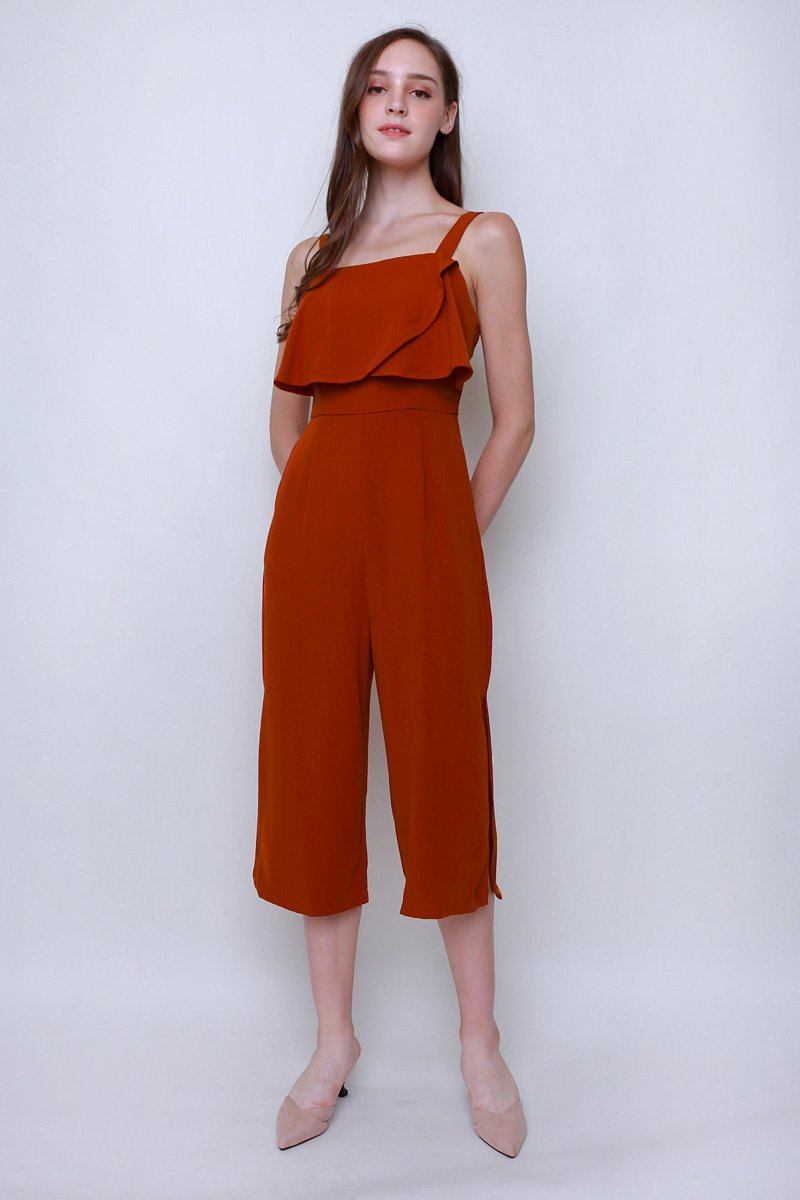 Min Layered Top Jumpsuit Rust