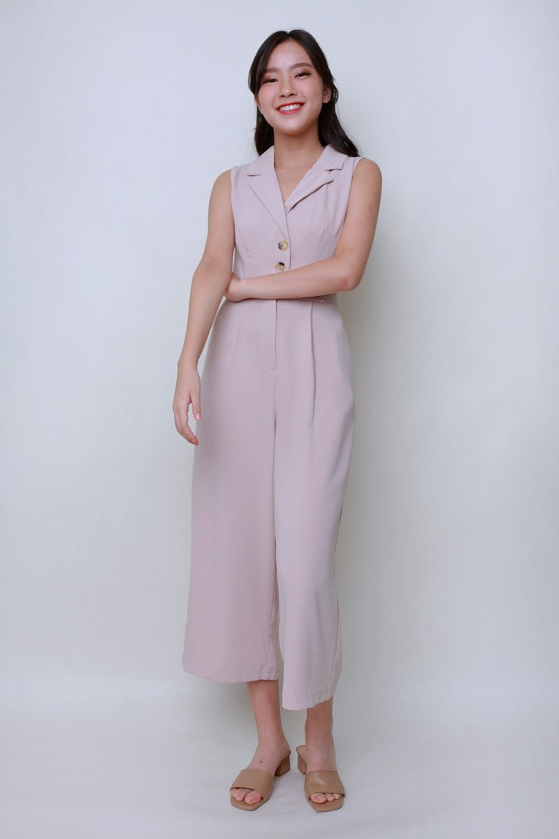 Riley Tailored Jumpsuit Nude