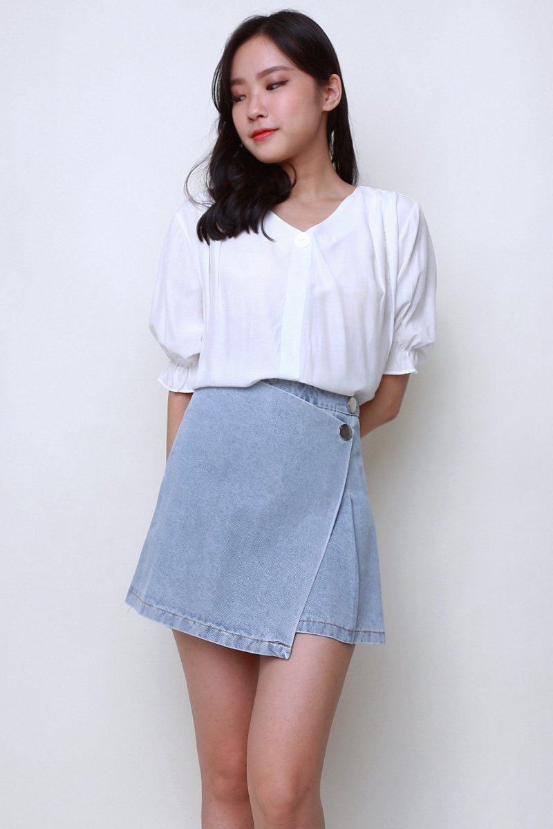 Ronny Overlap Denim Skort Lightwashed