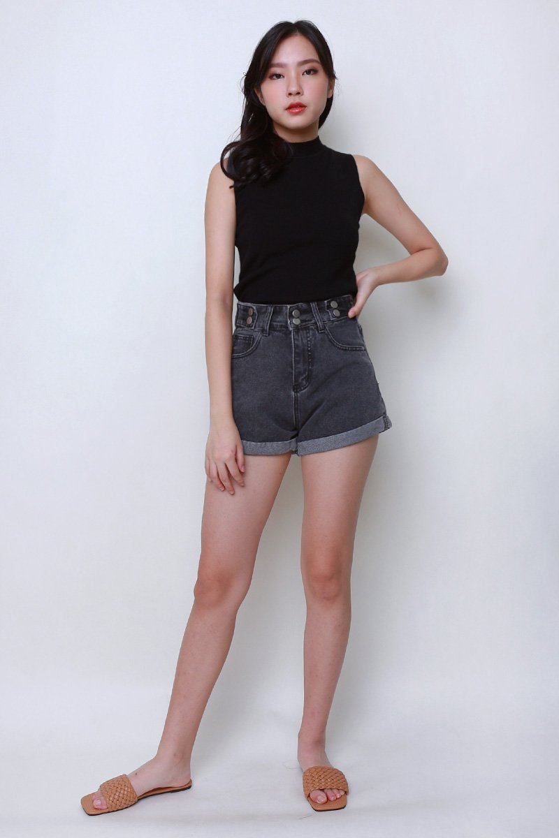 Vanny High Waisted Denim Shorts Black