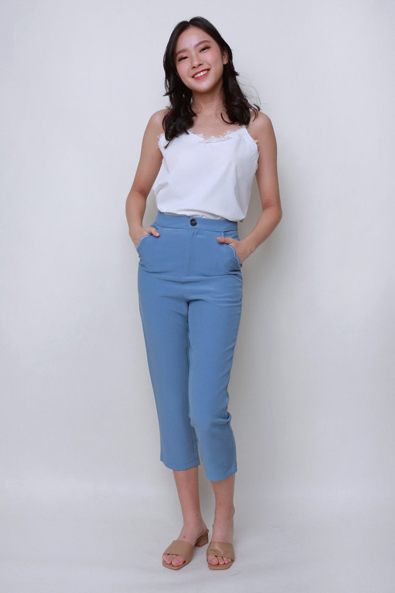 Desi Scallop Trim Tailored Pants Steel Blue