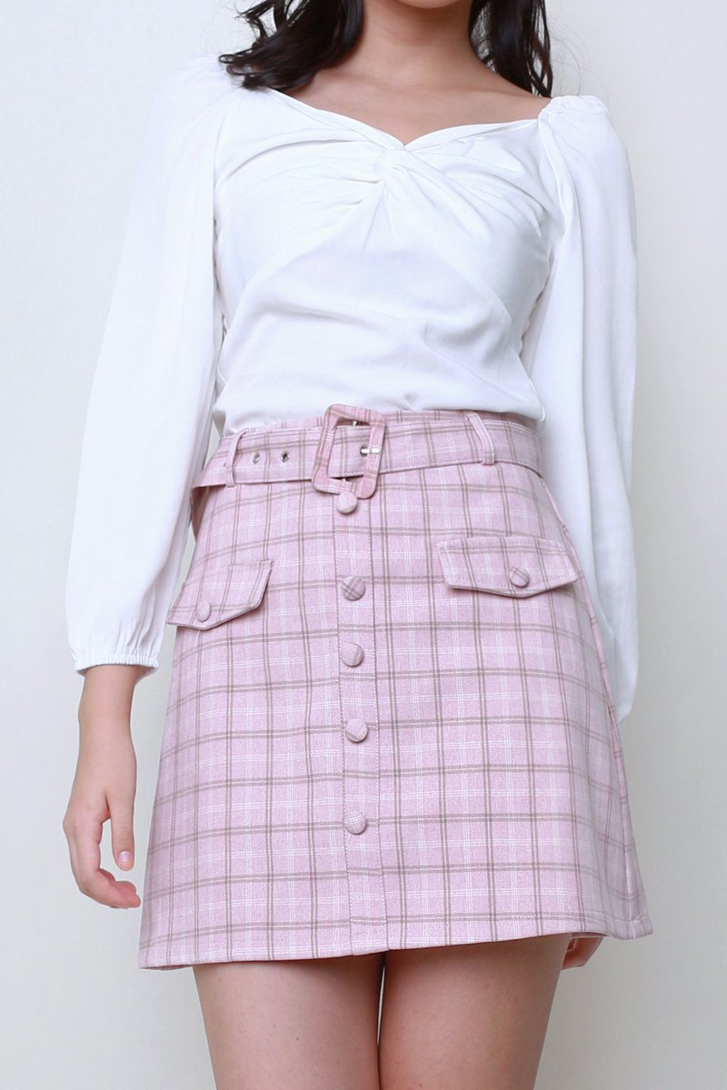 Zandra Belted Check Skirt Blush