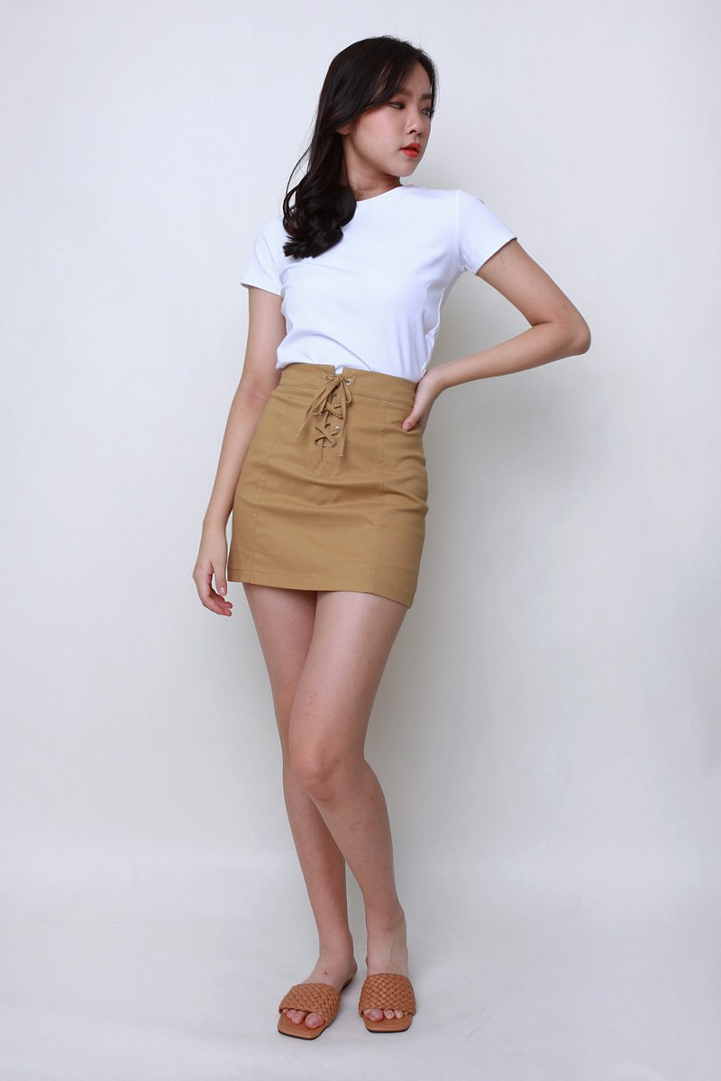 [Backorder]Noel Lace Up Skirt Khaki