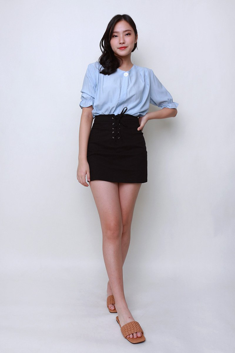 [Backorder]Noel Lace Up Skirt Black
