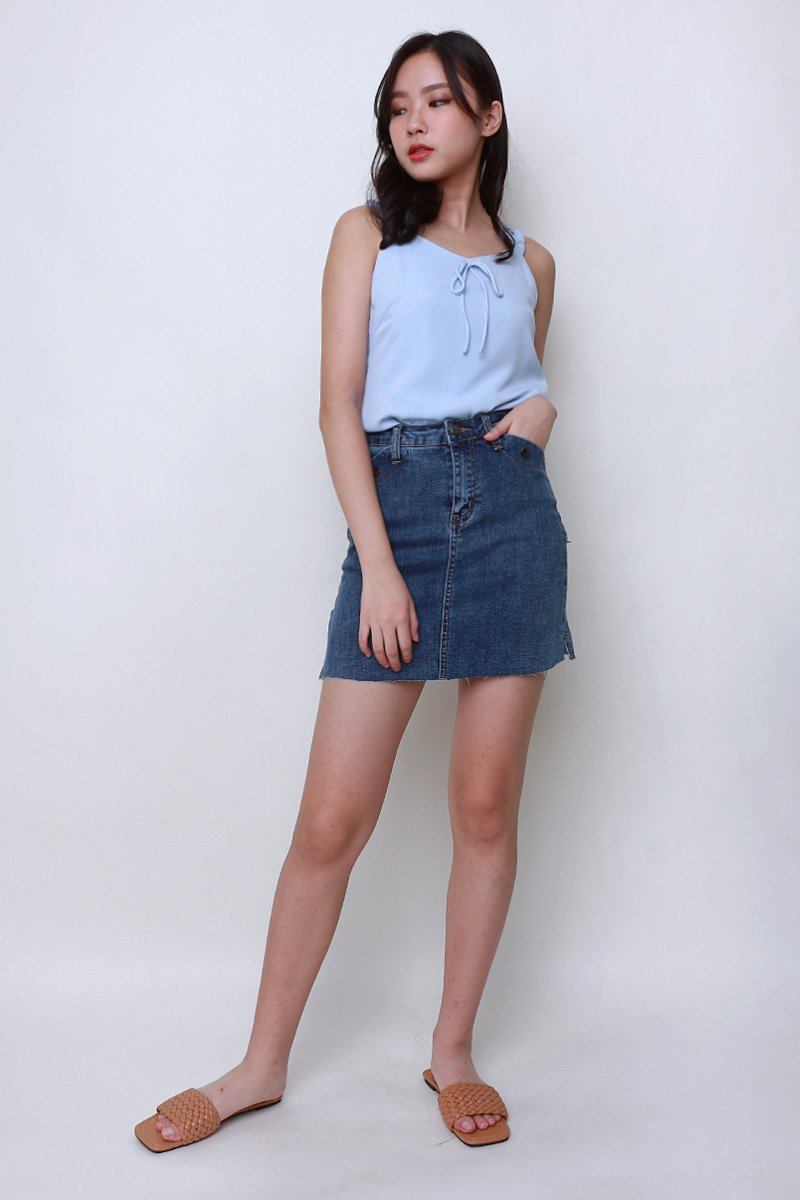 Benci Raw Hem Denim Skirt