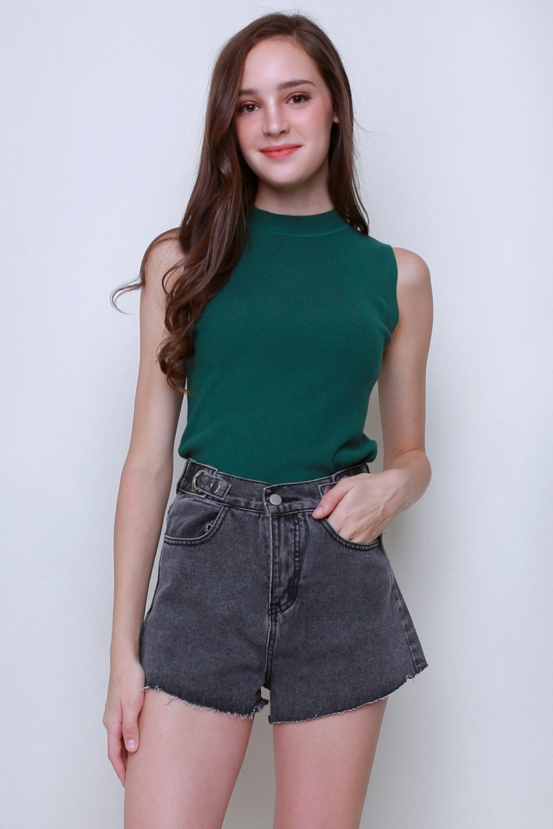 Camber Mock Neck Knit Top Forest