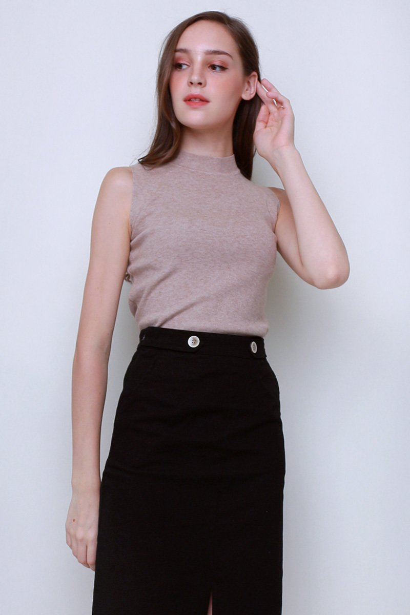 Camber Mock Neck Knit Top Sand